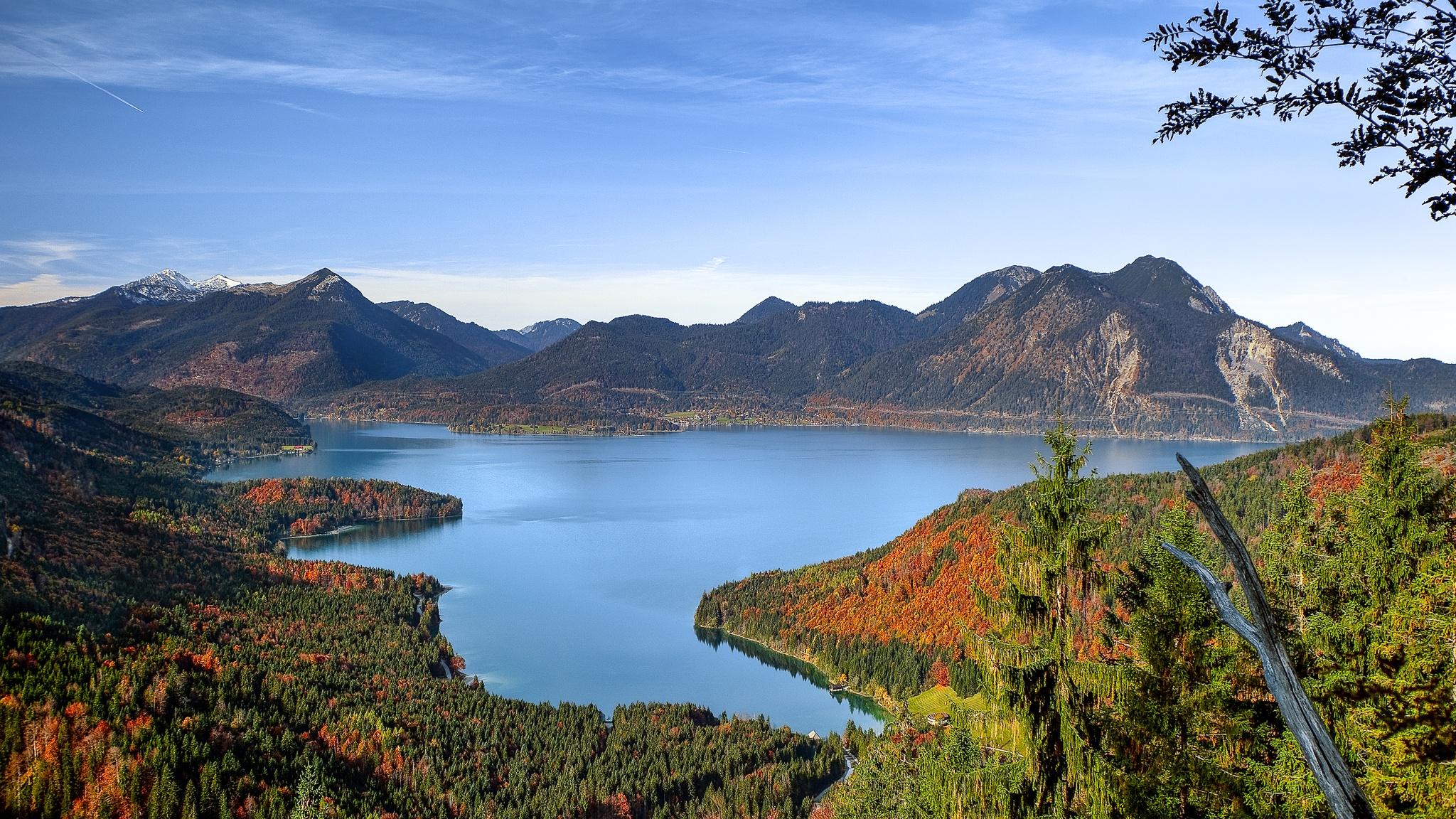 Kurz nach Sonnenaufgang, in der goldenen Stunde, erstrahlen die Laubbäume rund um den Walchensee in bunten Herbstfarben.