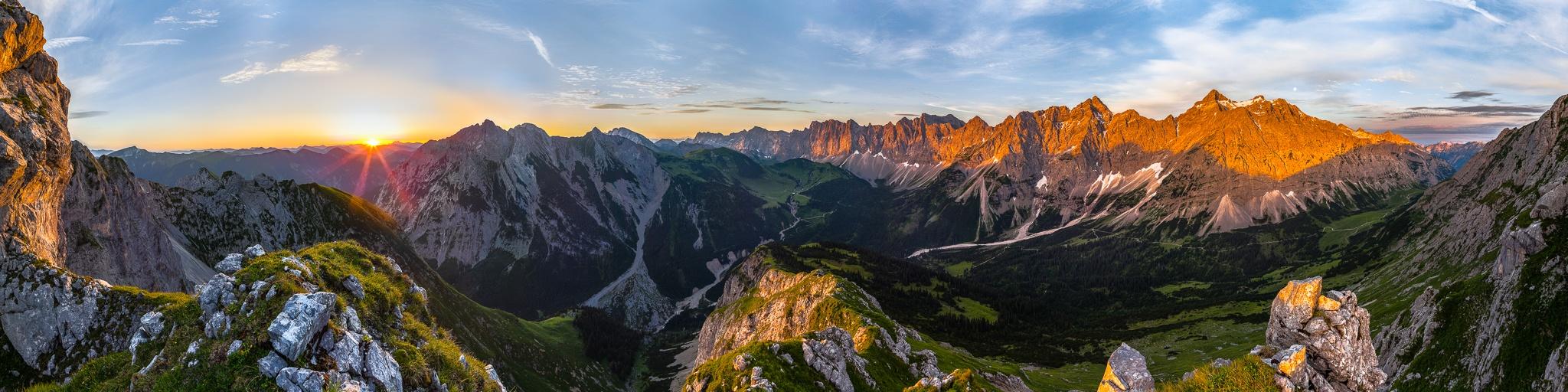 Karwendelhauptkamm Laliderer Wand Sonnenaufgang Alpen