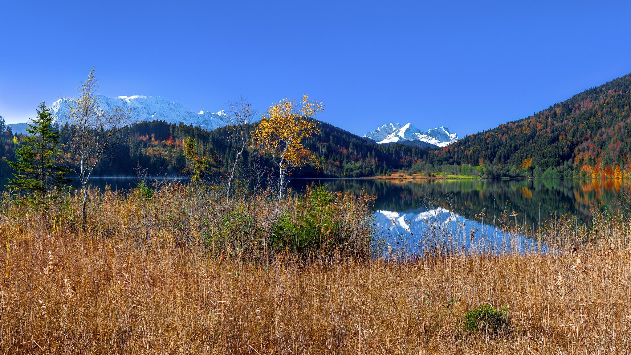 Barmsee, See, Herbstlandschaft, mit, See