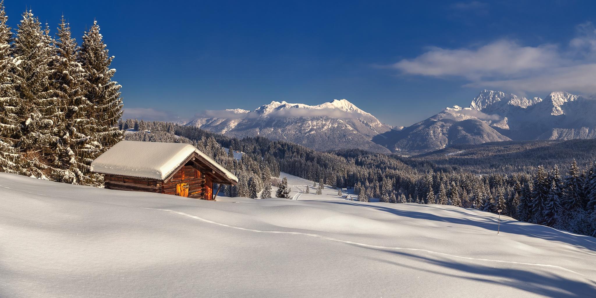 Stadel, Elmau, Soiernspitze, Soierngruppe, Winter, Berglandschaft, Karwendelgebirge
