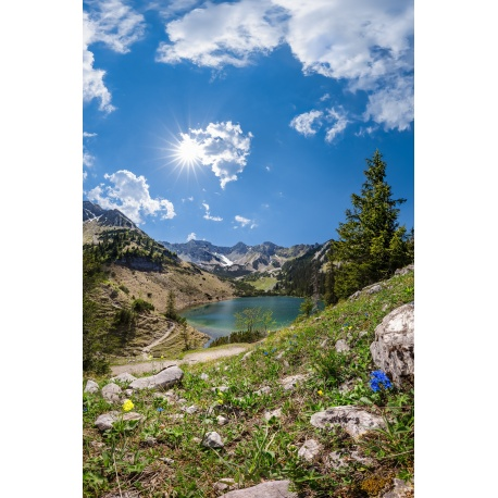 Soiernsee, Bergsee, Schöttelkarspitze, Frühling