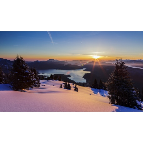 Walchensee, Berglandschaft, Winter