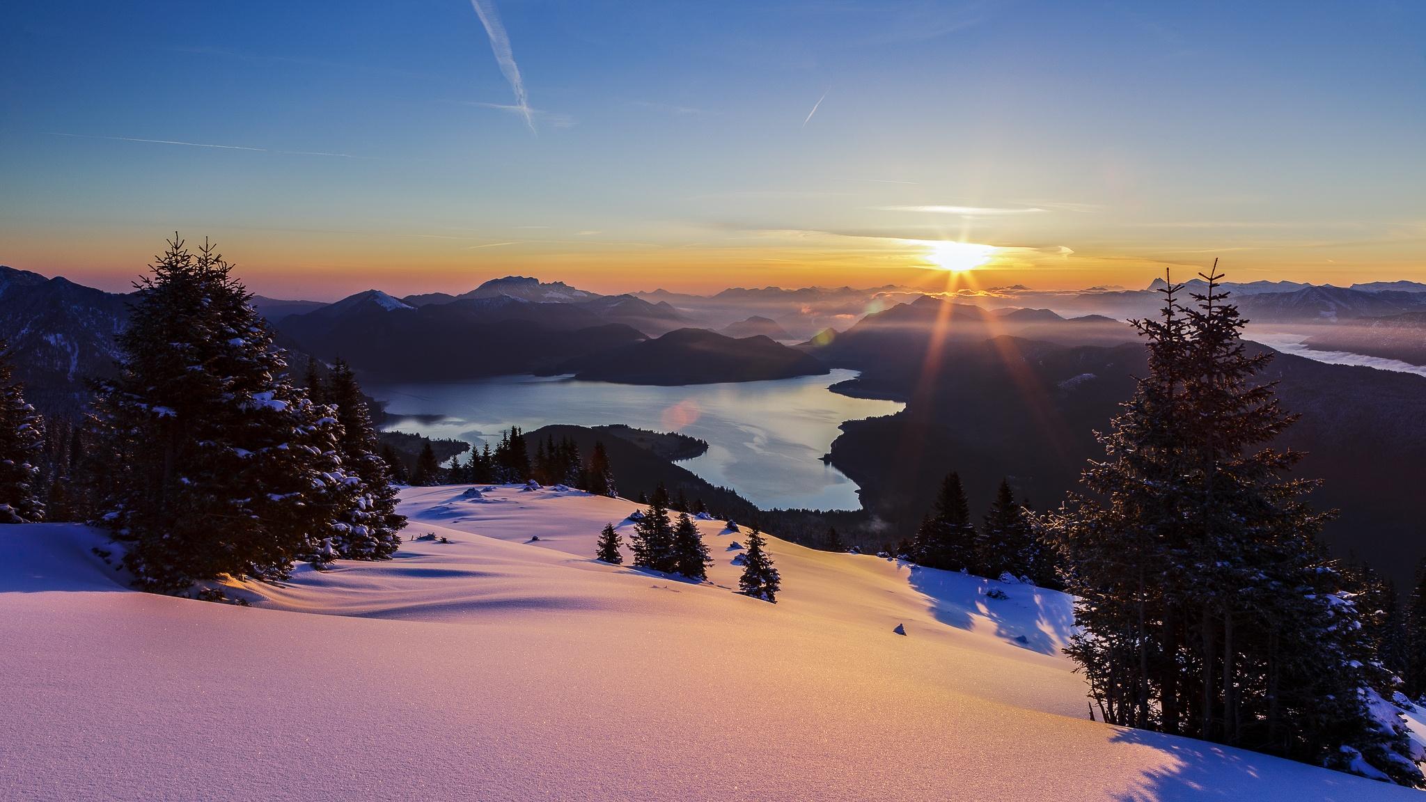 Simetsberg, Winter, Estergebirge, Walchensee, See