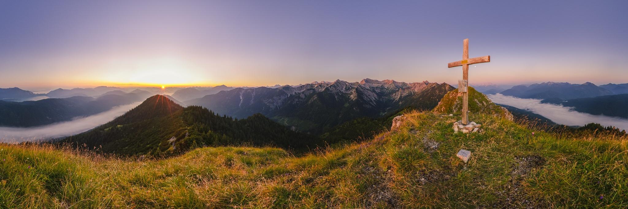 Soierngruppe, Hoher Grasberg, Panoramablick, Bergpanorama, Bayern, Karwendelgebirge