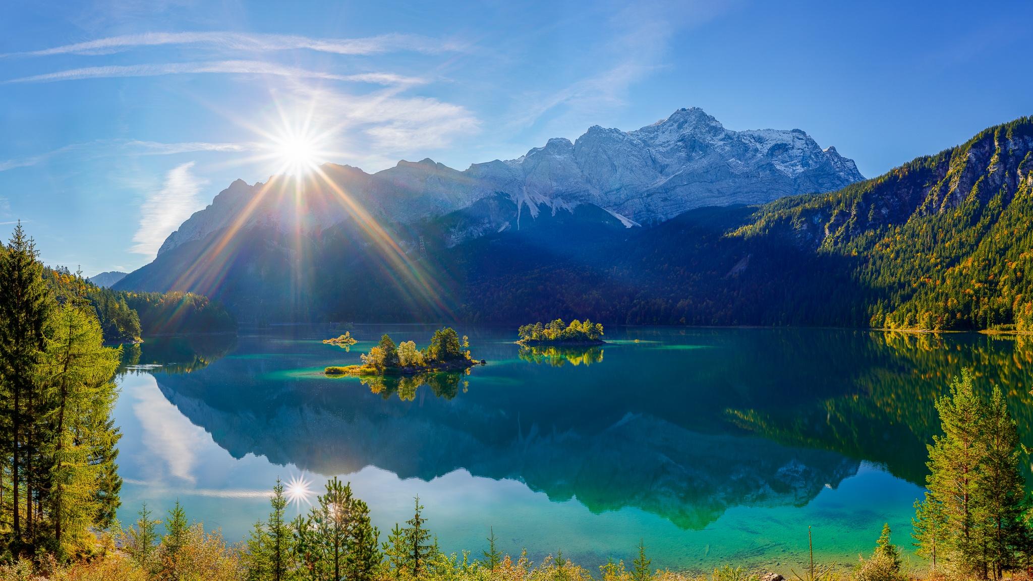 Eibsee, Sonnenaufgang, Berglandschaft