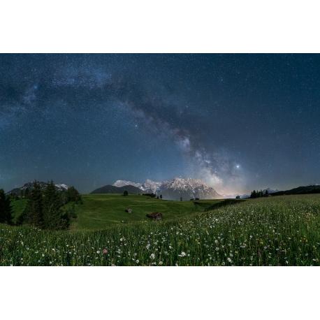 Milchstraße über dem Karwendel - Blumenwiese im Mondlicht